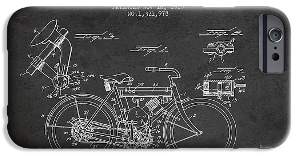 Biking Drawings iPhone Cases - 1919 Motorcycle Patent - Charcoal iPhone Case by Aged Pixel