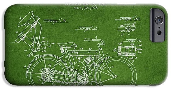 Biking Drawings iPhone Cases - 1919 Motorcycle Patent - Green iPhone Case by Aged Pixel
