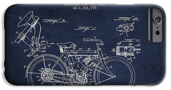 Biking Drawings iPhone Cases - 1919 Motorcycle Patent - Navy Blue iPhone Case by Aged Pixel