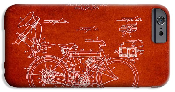 Biking Drawings iPhone Cases - 1919 Motorcycle Patent - Red iPhone Case by Aged Pixel