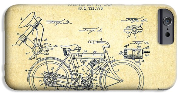 Biking Drawings iPhone Cases - 1919 Motorcycle Patent - Vintage iPhone Case by Aged Pixel