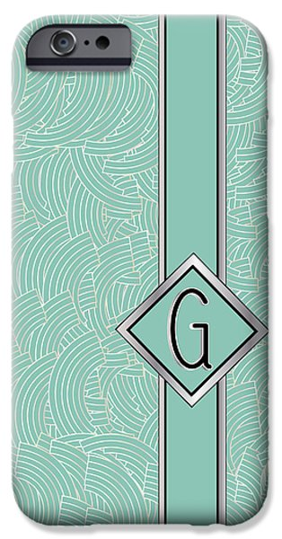Shower Head iPhone Cases - 1920s Blue Deco Jazz Swing Monogram ...letter G iPhone Case by Cecely Bloom