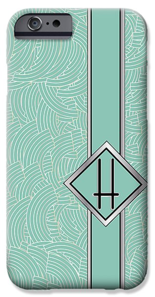 Shower Head iPhone Cases - 1920s Blue Deco Jazz Swing Monogram ...letter H iPhone Case by Cecely Bloom