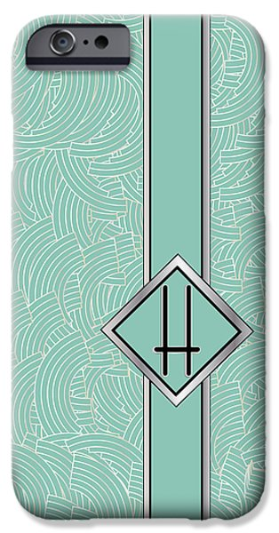 Shower Head Digital Art iPhone Cases - 1920s Blue Deco Jazz Swing Monogram ...letter H iPhone Case by Cecely Bloom