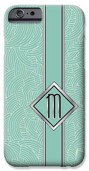 Shower Head Digital Art iPhone Cases - 1920s Blue Deco Jazz Swing Monogram ...letter M iPhone Case by Cecely Bloom