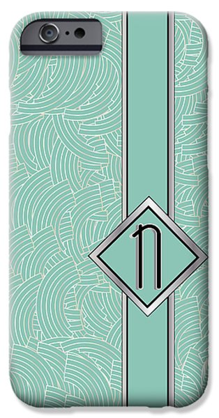 Shower Head iPhone Cases - 1920s Blue Deco Jazz Swing Monogram ...letter N iPhone Case by Cecely Bloom