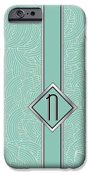 Shower Head Digital Art iPhone Cases - 1920s Blue Deco Jazz Swing Monogram ...letter N iPhone Case by Cecely Bloom
