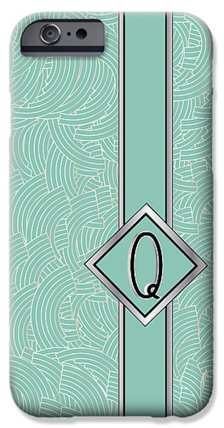 Party Invite iPhone Cases - 1920s Blue Deco Jazz Swing Monogram ...letter Q iPhone Case by Cecely Bloom