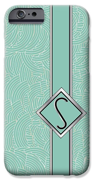 Party Invite iPhone Cases - 1920s Blue Deco Jazz Swing Monogram ...letter S iPhone Case by Cecely Bloom