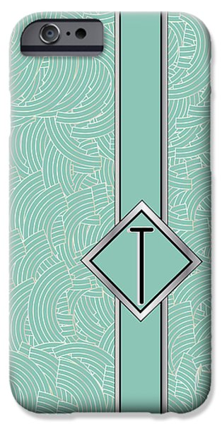 Party Invite iPhone Cases - 1920s Blue Deco Jazz Swing Monogram ...letter T iPhone Case by Cecely Bloom