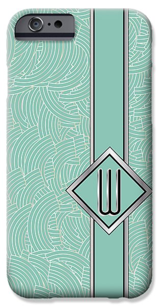Party Invite iPhone Cases - 1920s Blue Deco Jazz Swing Monogram ...letter W iPhone Case by Cecely Bloom
