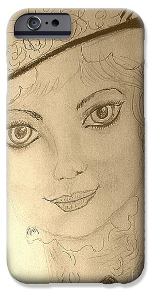 Michelle Drawings iPhone Cases - 1920s iPhone Case by Michelle Reid