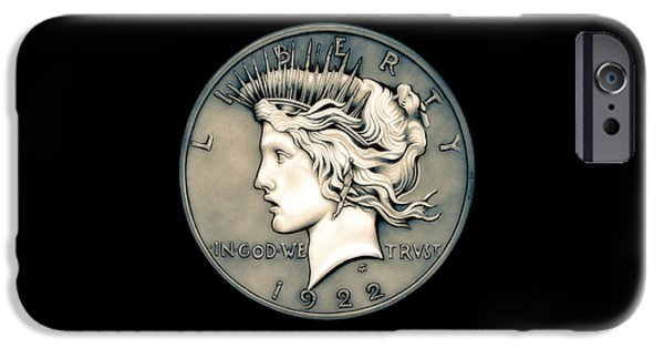Coins Drawings iPhone Cases - 1922 Ghost Peace Dollar iPhone Case by Fred Larucci
