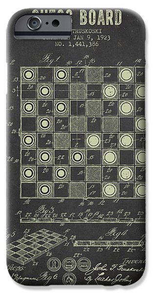 Strategy iPhone Cases - 1923 Chess Board Patent - Dark Grunge iPhone Case by Aged Pixel