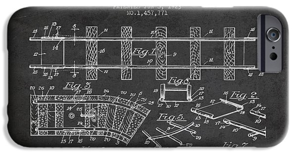 Transportation Drawings iPhone Cases - 1923 Toy Railway Patent - Charcoal iPhone Case by Aged Pixel