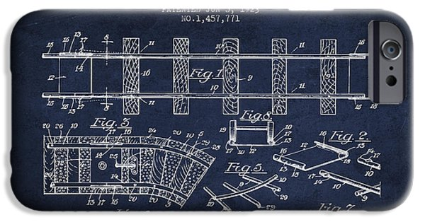 Transportation Drawings iPhone Cases - 1923 Toy Railway Patent - Navy Blue iPhone Case by Aged Pixel