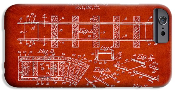 Transportation Drawings iPhone Cases - 1923 Toy Railway Patent - Red iPhone Case by Aged Pixel