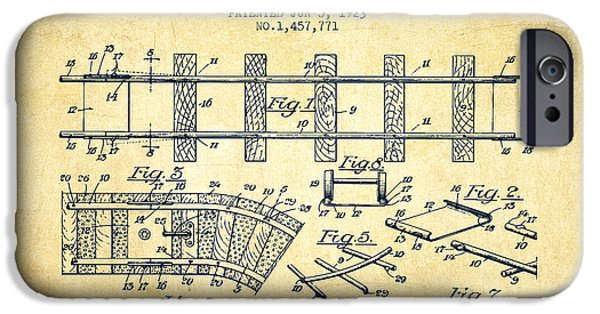 Transportation Drawings iPhone Cases - 1923 Toy Railway Patent - Vintage iPhone Case by Aged Pixel