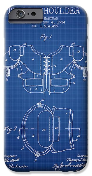 Gear Drawings iPhone Cases - 1924 Football Shoulder Pad Patent - Blueprint iPhone Case by Aged Pixel