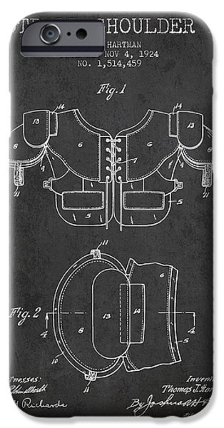 Gear Drawings iPhone Cases - 1924 Football Shoulder Pad Patent - Charcoal iPhone Case by Aged Pixel