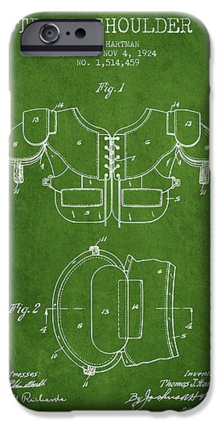 Gear Drawings iPhone Cases - 1924 Football Shoulder Pad Patent - Green iPhone Case by Aged Pixel