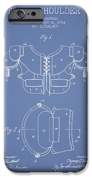 Gear Drawings iPhone Cases - 1924 Football Shoulder Pad Patent - Light Blue iPhone Case by Aged Pixel