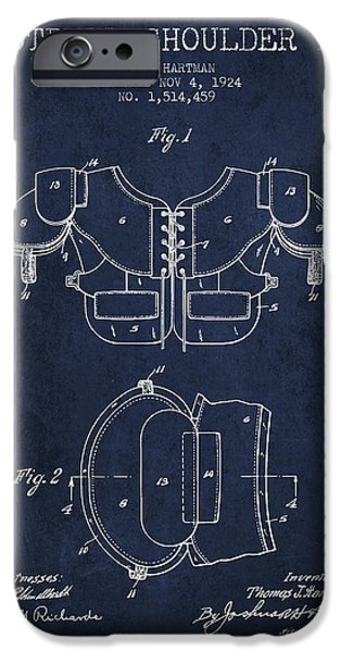 Gear Drawings iPhone Cases - 1924 Football Shoulder Pad Patent - Navy Blue iPhone Case by Aged Pixel