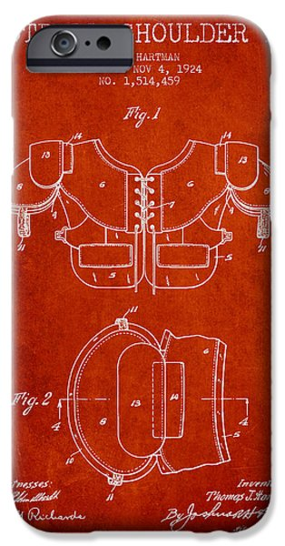 Gear Drawings iPhone Cases - 1924 Football Shoulder Pad Patent - Red iPhone Case by Aged Pixel