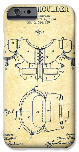 Gear Drawings iPhone Cases - 1924 Football Shoulder Pad Patent - Vintage iPhone Case by Aged Pixel