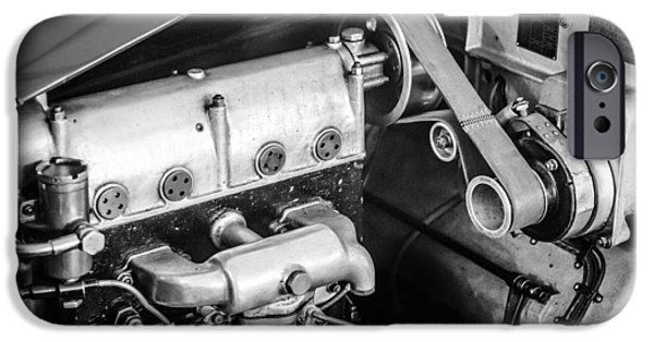 Bugatti Vintage Car iPhone Cases - 1925 Bugatti Brescia Type 23 Roadster Engine -0583bw iPhone Case by Jill Reger