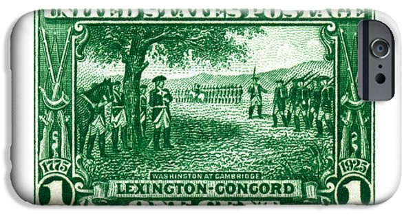 Concord Massachusetts Paintings iPhone Cases - 1925 George Washington at Cambridge Stamp iPhone Case by Historic Image