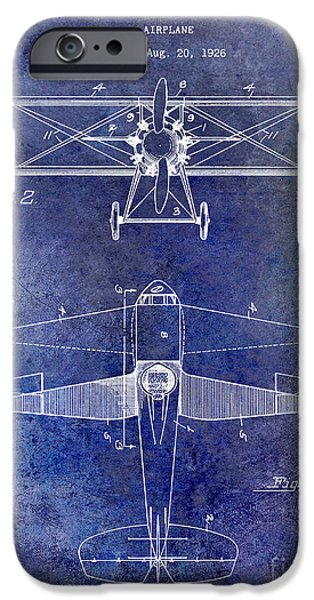 Recently Sold -  - Sea iPhone Cases - 1929 Airplane Patent Blue iPhone Case by Jon Neidert