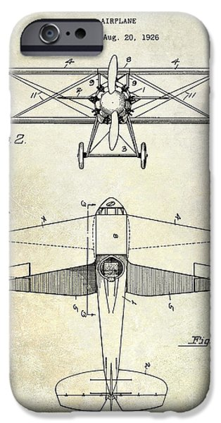 Airplanes Photographs iPhone Cases - 1929 Airplane Patent iPhone Case by Jon Neidert