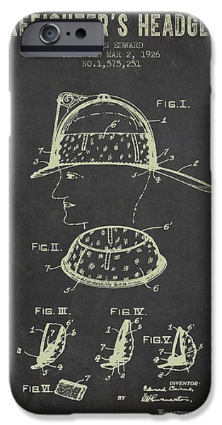 Gear iPhone Cases - 1926 Firefighters Headgear Patent - Dark Grunge iPhone Case by Aged Pixel