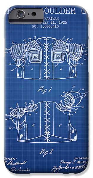 Gear Drawings iPhone Cases - 1926 Football Shoulder Guard Patent - Blueprint iPhone Case by Aged Pixel