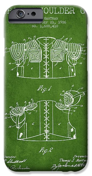 Gear Drawings iPhone Cases - 1926 Football Shoulder Guard Patent - Green iPhone Case by Aged Pixel