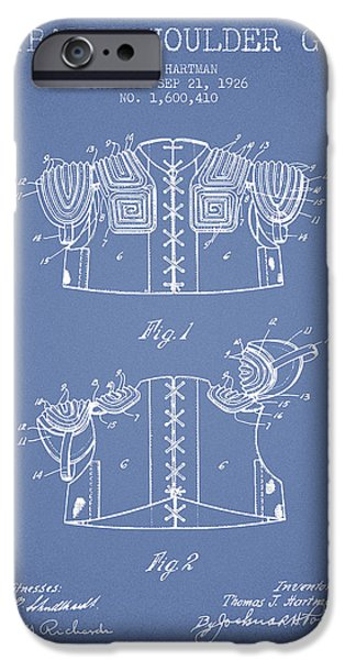 Gear Drawings iPhone Cases - 1926 Football Shoulder Guard Patent - Light Blue iPhone Case by Aged Pixel