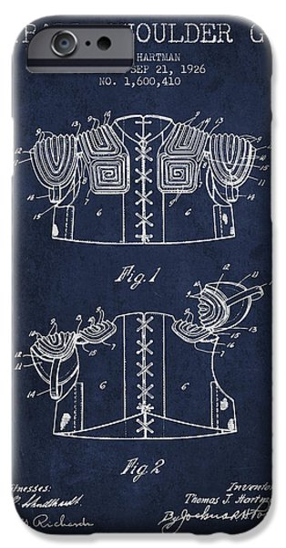 Gear Drawings iPhone Cases - 1926 Football Shoulder Guard Patent - Navy Blue iPhone Case by Aged Pixel