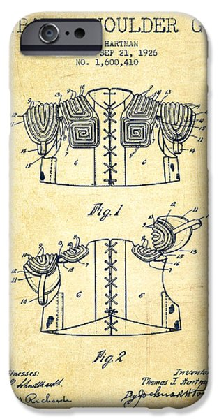 Gear Drawings iPhone Cases - 1926 Football Shoulder Guard Patent - Vintage iPhone Case by Aged Pixel