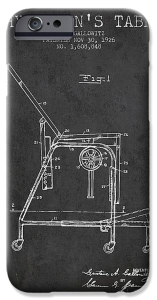 Medical Drawings iPhone Cases - 1926 Physicians Table patent - Charcoal iPhone Case by Aged Pixel