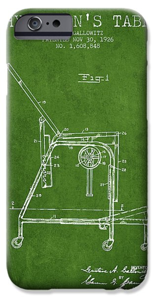 Medical Drawings iPhone Cases - 1926 Physicians Table patent - Green iPhone Case by Aged Pixel