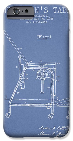 Medical Drawings iPhone Cases - 1926 Physicians Table patent - Light Blue iPhone Case by Aged Pixel