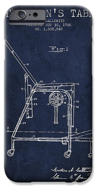 Medical Drawings iPhone Cases - 1926 Physicians Table patent - Navy Blue iPhone Case by Aged Pixel