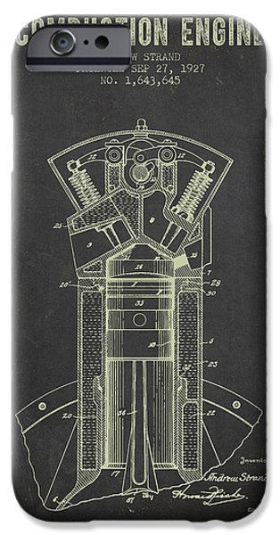 Combustion iPhone Cases - 1927 Compustion Engine Patent - Dark Grunge iPhone Case by Aged Pixel