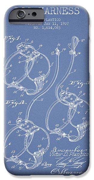 Dog iPhone Cases - 1927 Dog Harness Patent - Light Blue iPhone Case by Aged Pixel