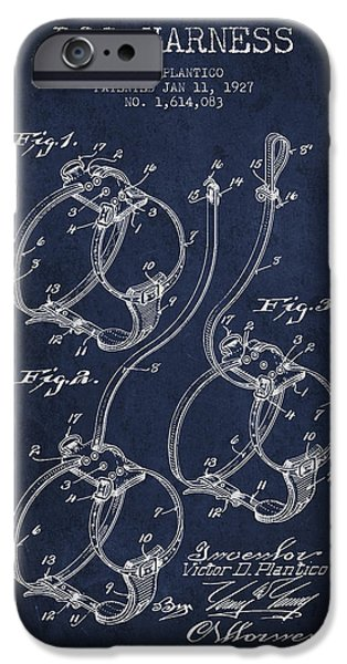 Dog iPhone Cases - 1927 Dog Harness Patent - Navy Blue iPhone Case by Aged Pixel