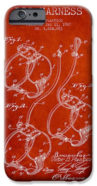 Dog iPhone Cases - 1927 Dog Harness Patent - Red iPhone Case by Aged Pixel