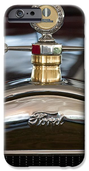 1927 Ford Roadster iPhone Cases - 1927 Ford T Roadster Hood ornament iPhone Case by Jill Reger