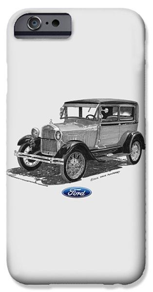 1928 Model A Ford 2 dr Sedan iPhone Case by Jack Pumphrey