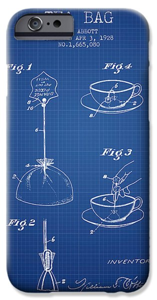 Cup Of Tea iPhone Cases - 1928 Tea Bag patent - blueprint iPhone Case by Aged Pixel